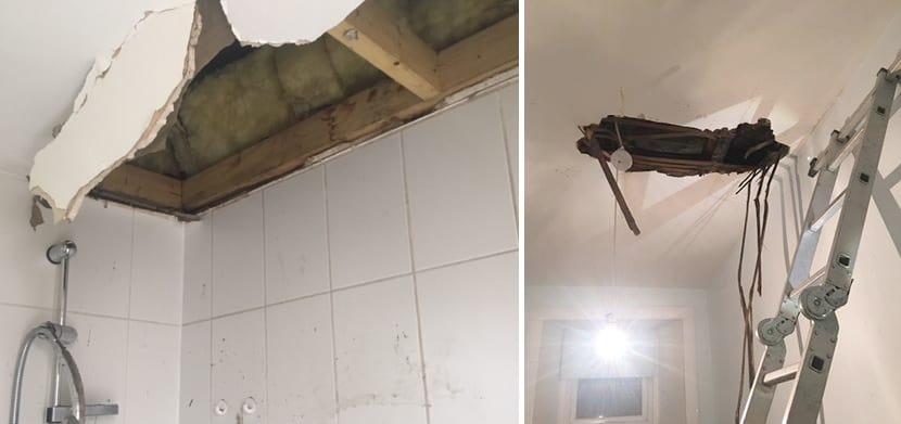 leaking pipes cause ceiling to collapse
